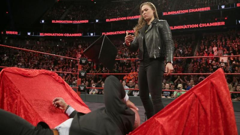 wwe elimination chamber 2018 - ronda rousey and triple h