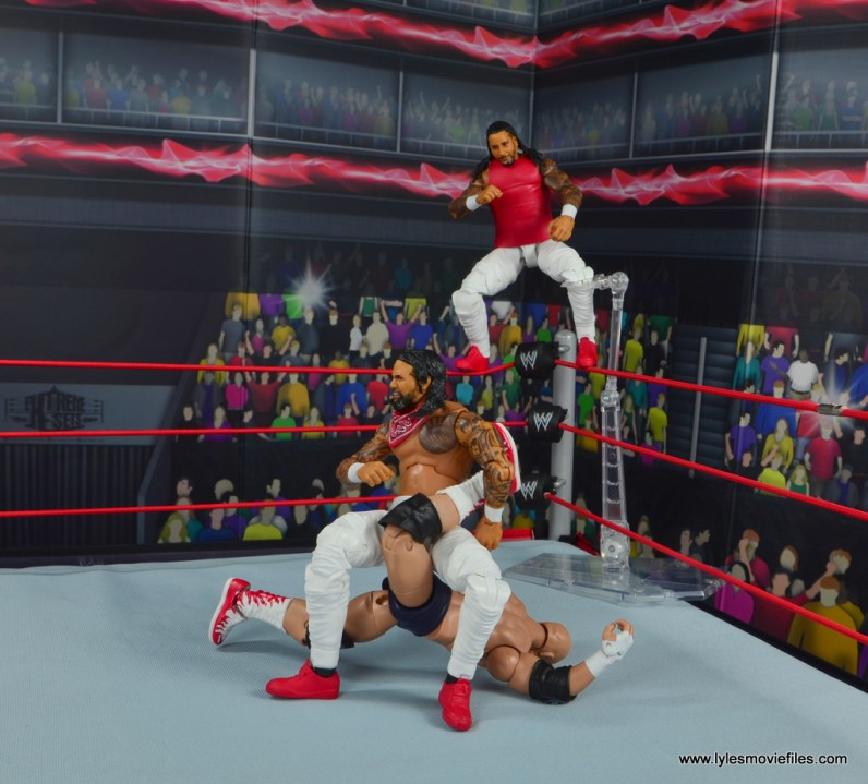 wwe elite 54 the usos jimmy and jey usos figure review - jimmy about to come off the top