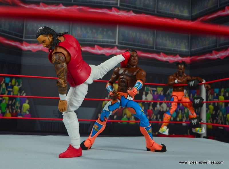 wwe elite 54 the usos jimmy and jey usos figure review - jimmy superkick xavier woods