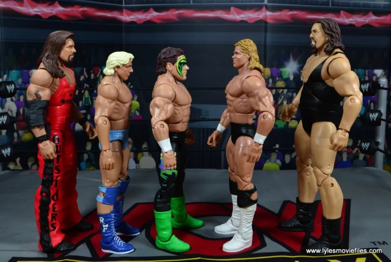 wwe elite bash at the beach sting figure review - scale with kevin nash, ric flair, lex luger and the giant
