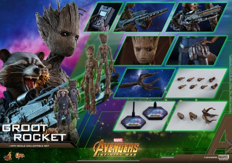 hot toys avengers infinity war groot and rocket figures - collage