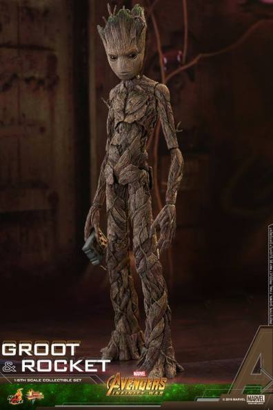 hot toys avengers infinity war groot and rocket figures - groot holding tablet