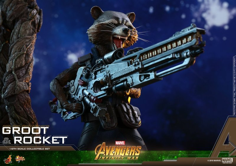 hot toys avengers infinity war groot and rocket figures - rocket gun close up