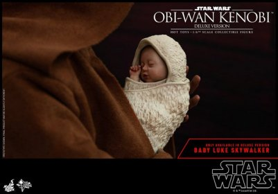hot toys revenge of the sith obi wan kenobi figure -holding baby luke skywalker