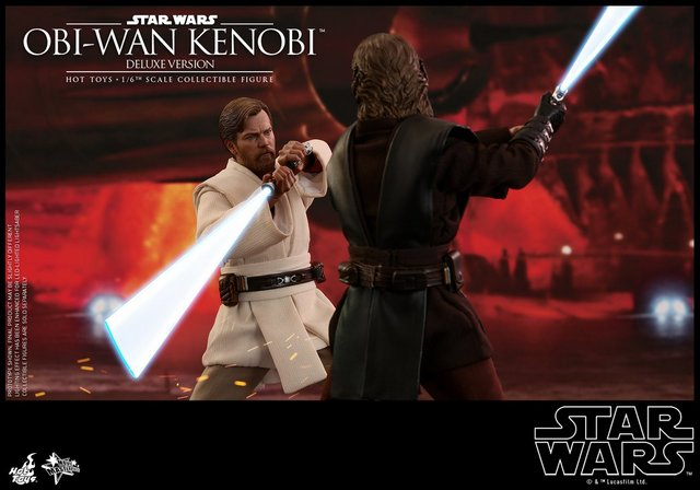 hot toys revenge of the sith obi wan kenobi figure -vs anakin skywalker