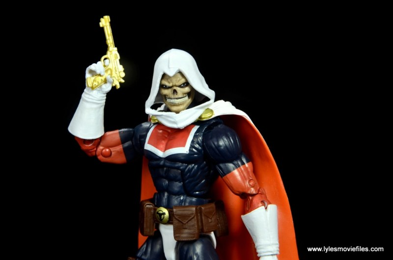 marvel legends taskmaster figure review - lifting pistol
