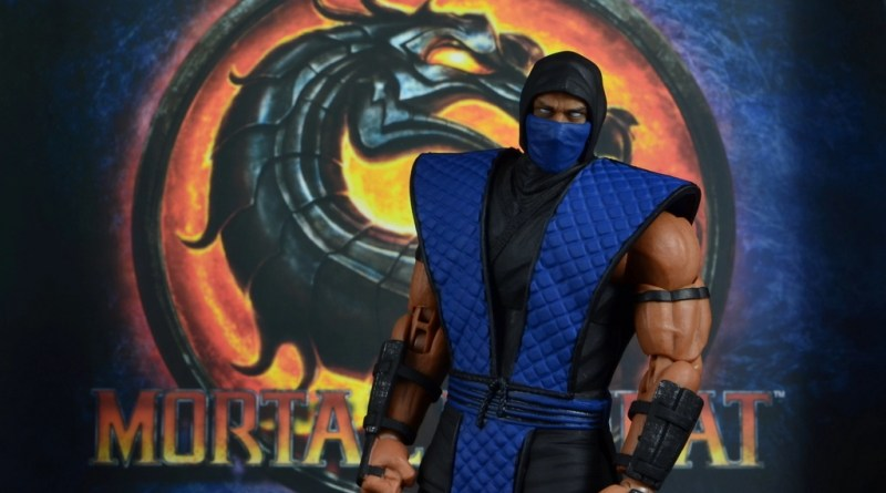 storm collectibles mortal kombat sub-zero figure review - with mortal kombat backdrop