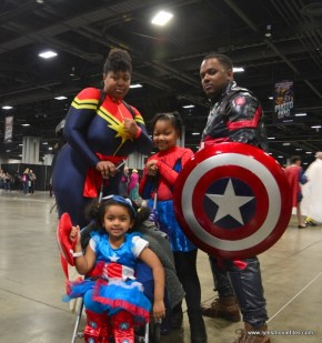 awesome con 2018 cosplay -captain marvel, spider-man and captain america