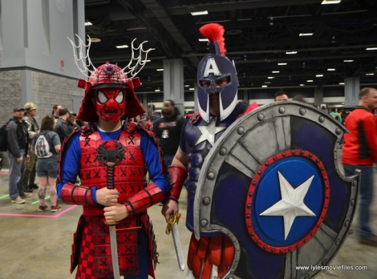 awesome con 2018 cosplay -samurai spider man and gladiator captain america