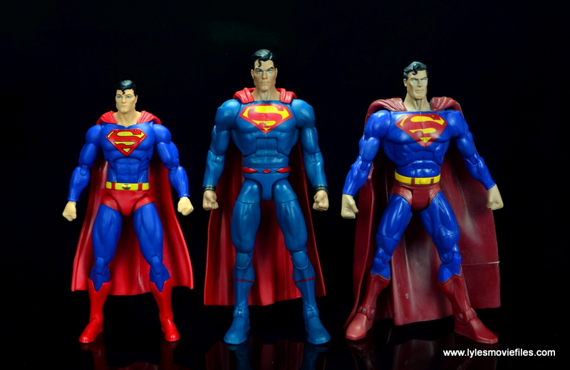 dc multiverse superman rebirth figure review - with dc icons superman and dc classics superman