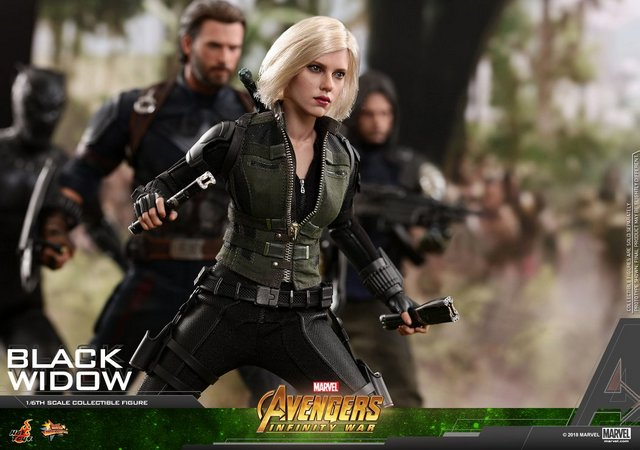 hot toys avengers infinity war black widow -with black panther, captain america and winter soldier