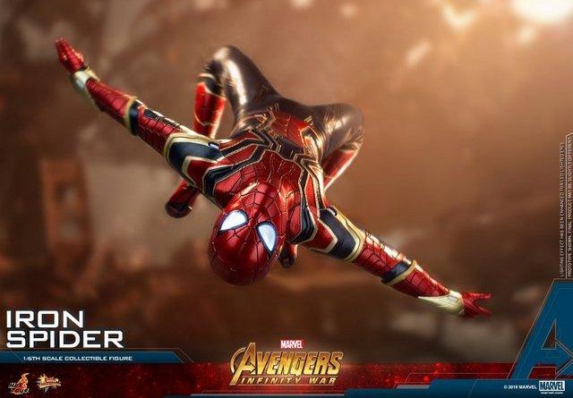 hot toys avengers infinity war iron spider-man figure -backflipping