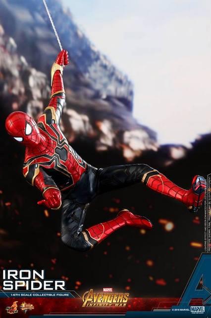 hot toys avengers infinity war iron spider-man figure -web slinging