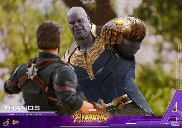hot toys avengers infinity war thanos figure - vs captain america