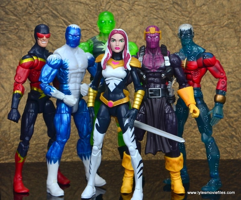 marvel legends songbird figure review - with speed demon, blizzard, radioactive man, baron zemo and captain marvel