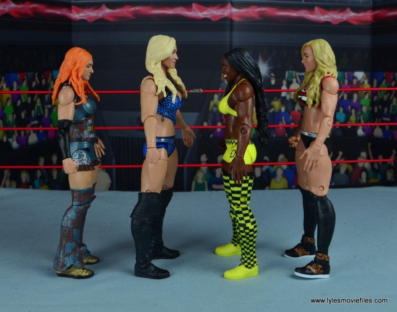 wwe elite 54 charlotte flair figure review - scale with becky lynch, naomi and carmella