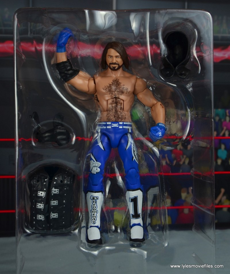 wwe elite 56 aj styles figure review - accessories on tray