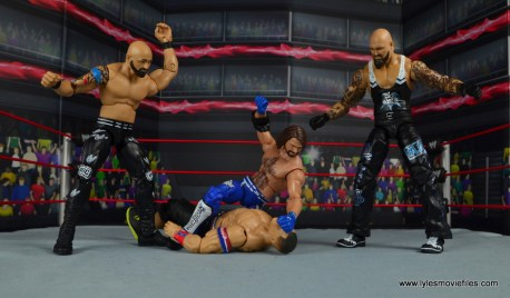 wwe elite 56 aj styles figure review - beat up john cena with the club