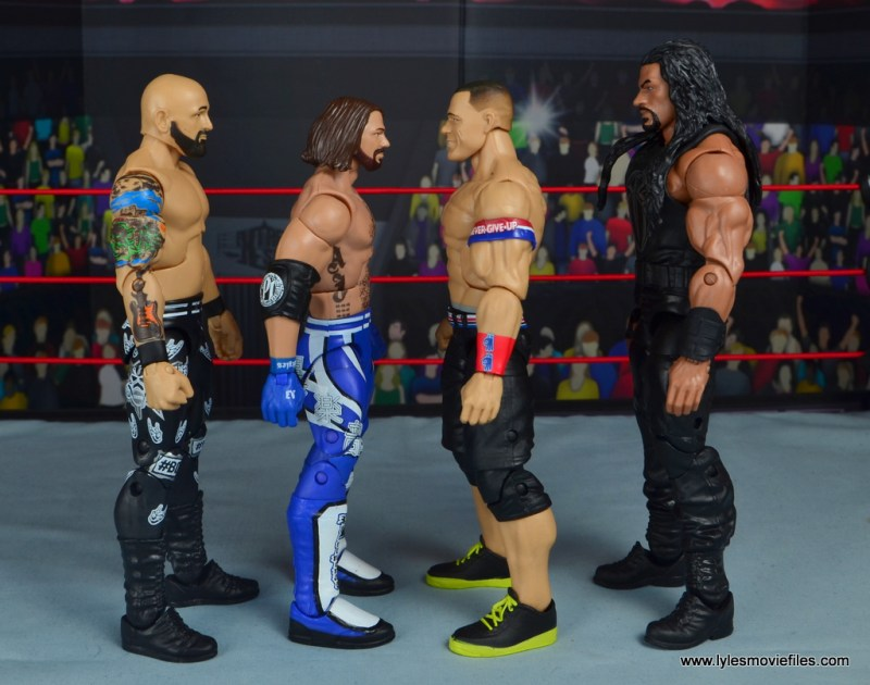wwe elite 56 aj styles figure review - scale with karl anderson, john cena and roman reigns