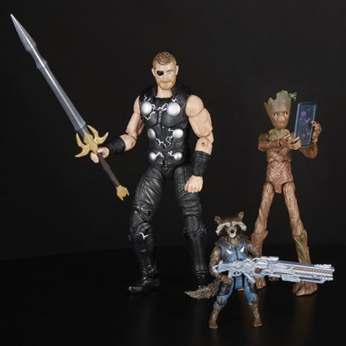 avengers infinity war marvel legends thor, groot and rocket pack loose