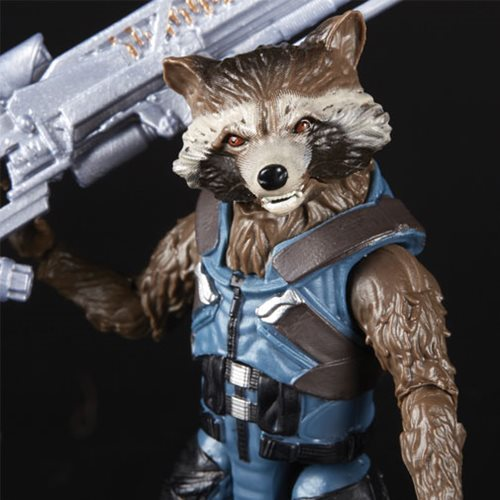 avengers infinity war marvel legends thor, groot and rocket pack - rocket close up