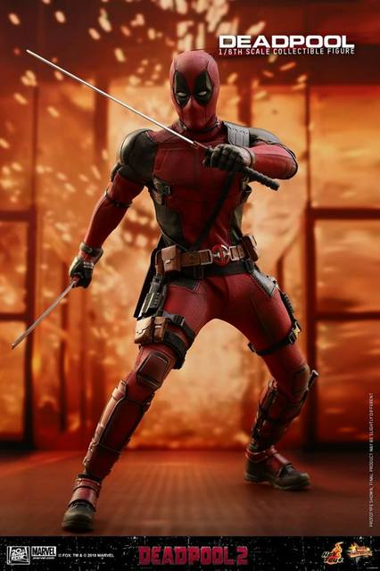 hot toys deadpool 2 figure - battle pose with katanas