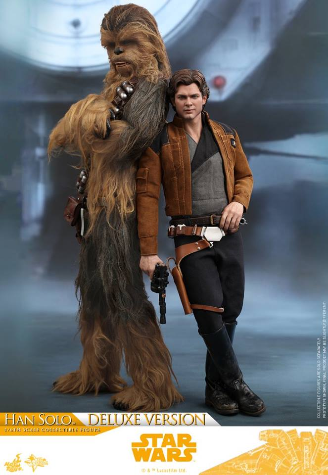 hot toys solo a star wars story han solo figure -back to back with chewie