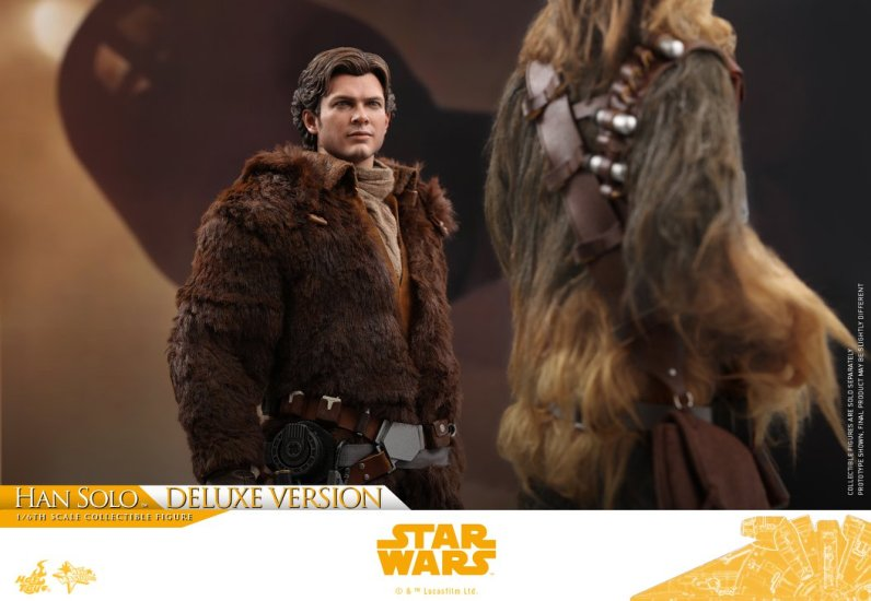 hot toys solo a star wars story han solo figure -looking up at chewie