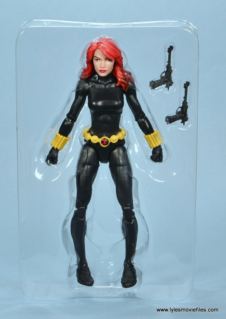 marvel legends retro black widow -accessories on tray
