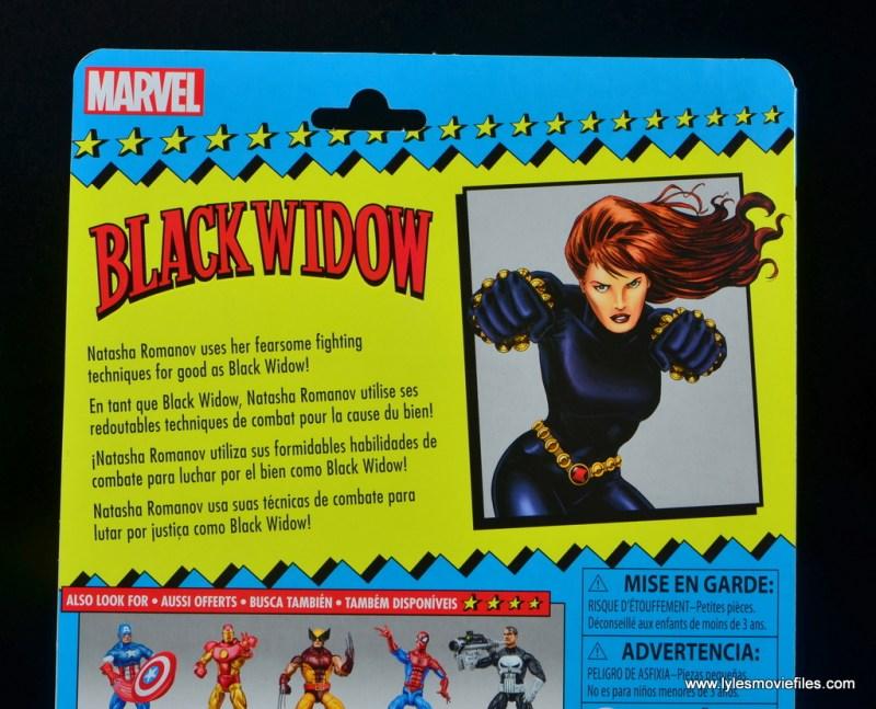 marvel legends retro black widow -package bio