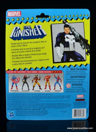 marvel legends the punisher retro figure review - package rear
