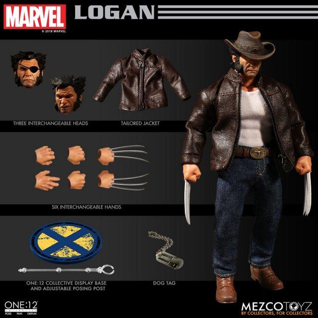 mezco toyz one collective logan figure -collage