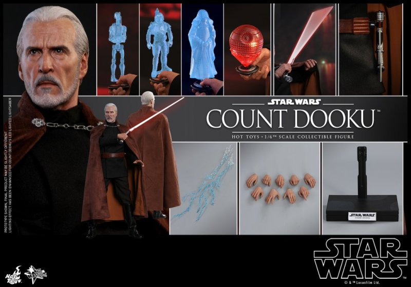 hot toys attack of the clones count dooku figure -battling yoda