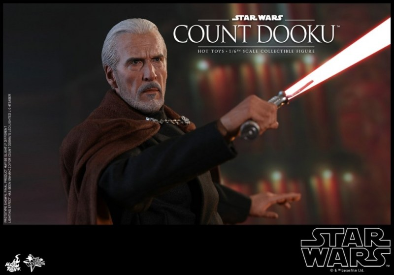 hot toys attack of the clones count dooku figure -drawing back lightsaber