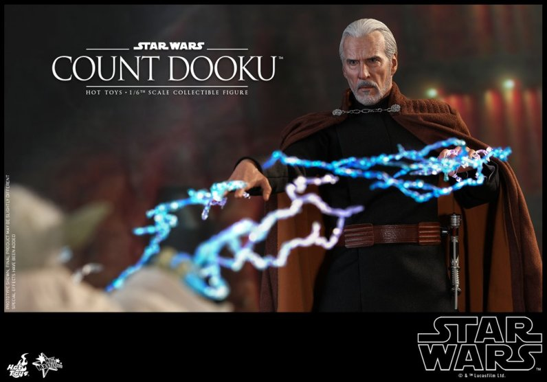 hot toys attack of the clones count dooku figure -lightning hands