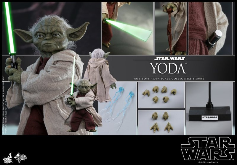 hot toys attack of the clones yoda figure -collage
