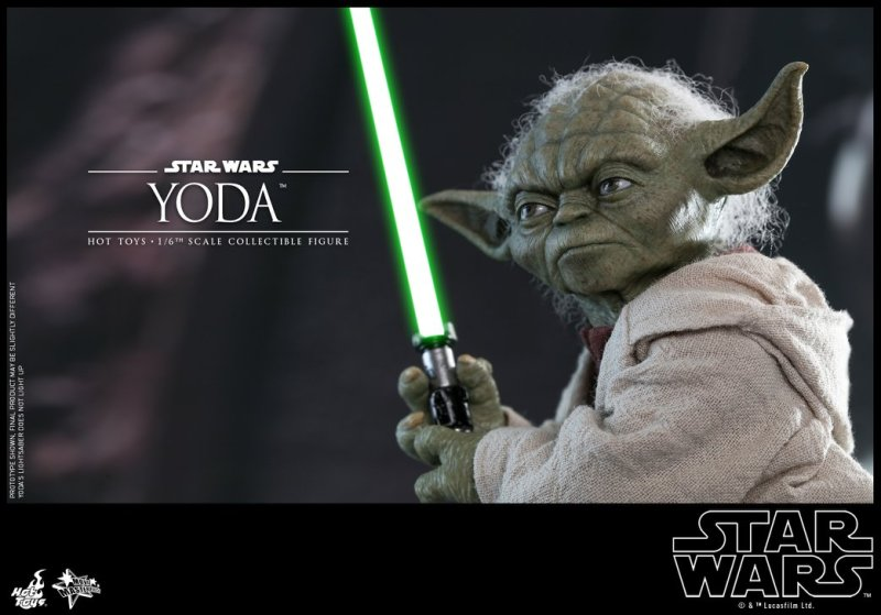hot toys attack of the clones yoda figure -wide shot with lightsaber