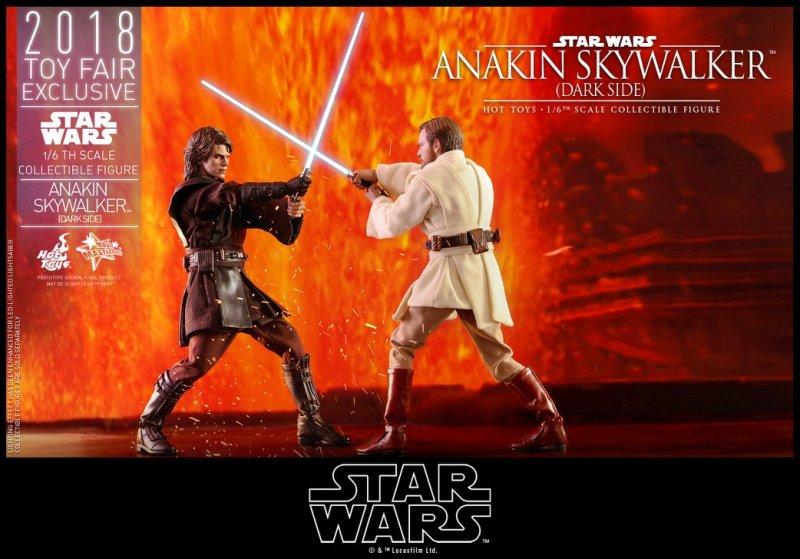 hot toys dark side anakin skywalker figure -battling obi-wan