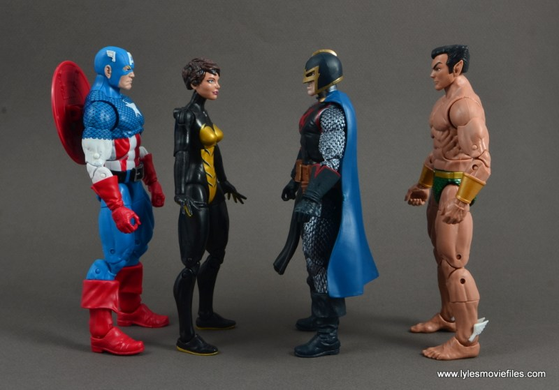 marvel legends black knight figure review -scale with captain america, wasp and namor