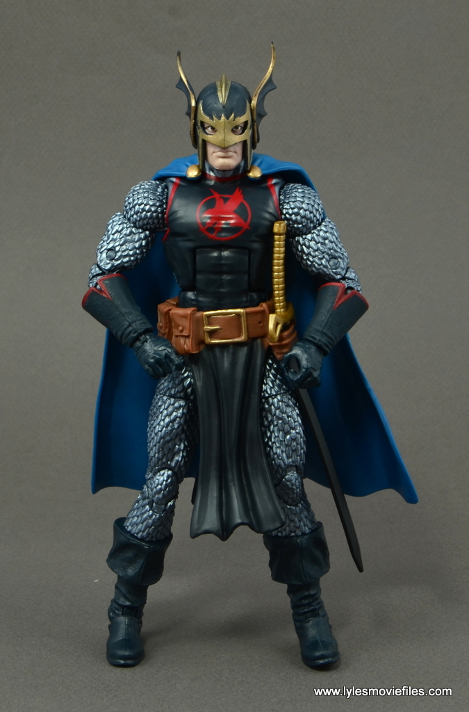 marvel legends black knight figure review -winged helmet front