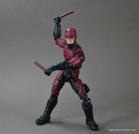 marvel legends netflix daredevil figure review -batons up