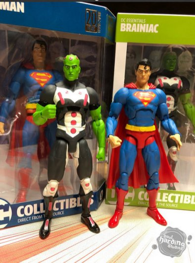 dc essentials braniac and superman figures loose