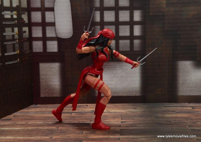 marvel legends elektra figure review -advancing