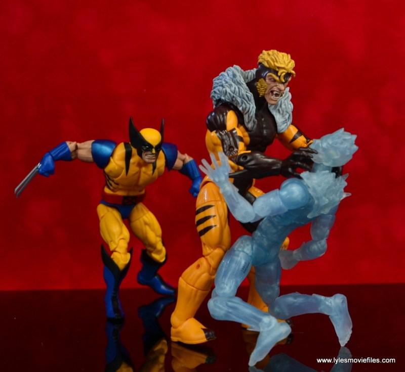 marvel legends sabretooth figure review - strangling iceman