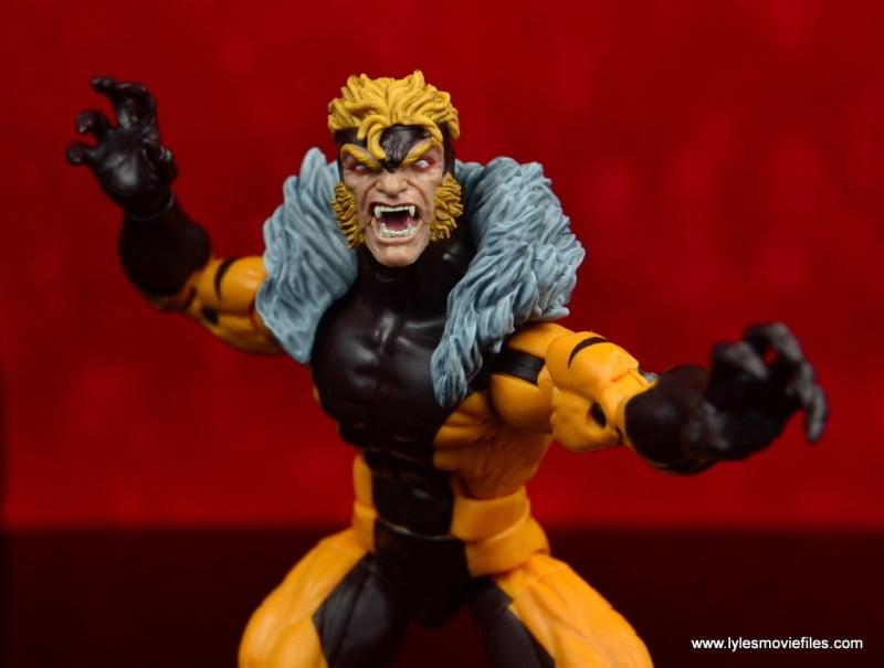 marvel legends sabretooth figure review - wide shot