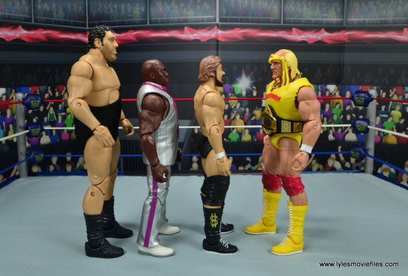 wwe elite virgil figure review - scale with andre the giant, ted dibiase and hulk hogan