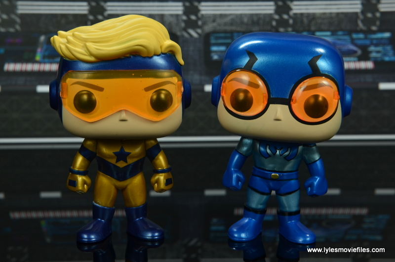 funko pop blue beetle and booster gold figure review - wide shot