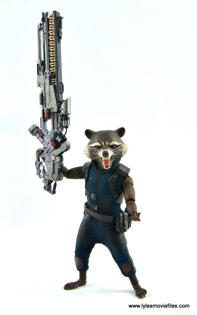 hot toys avengers infinity war groot and rocket review - rocket lifting blaster