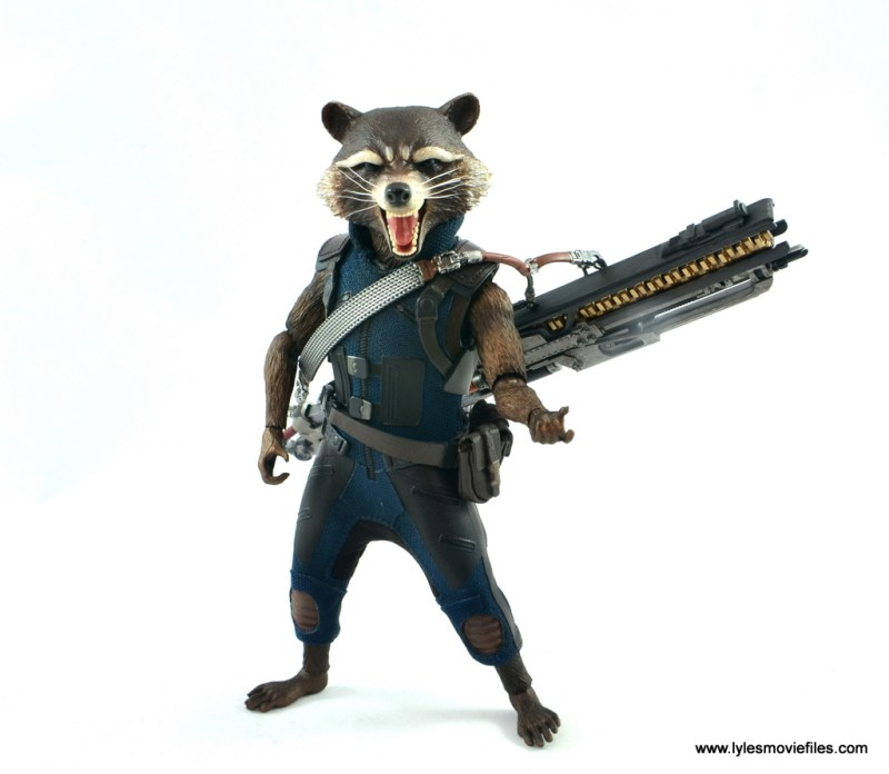hot toys avengers infinity war groot and rocket review - rocket with blaster strapped on back