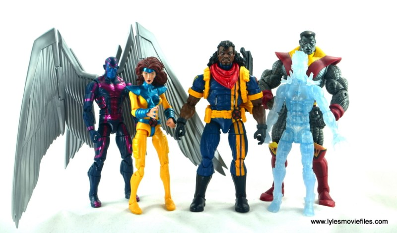 marvel legends bishop action figure review - with archangel, jean grey, iceman and colossus